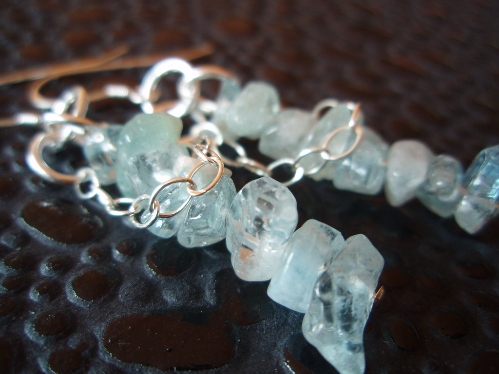 Venus Vixen - Aquamarine Sterling Silver Chain Earrings