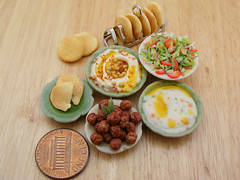Dollhouse Mediterranean Food (Shay Aaron) Tags: food scale kitchen israel miniature salad mediterranean handmade aaron middleeast fake balls mini vegetable fimo arab tiny shay oliveoil falafel 12th 112  hummus pinenuts dollhouse petit pita sesamepaste tahini     tehina            shayaaron