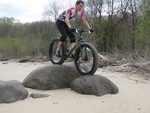 Cale riding some rocks.