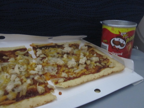 BBQ chicken pizza, chips, on the plane - $7