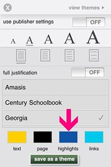 nook for iPhone: highlight color in a theme