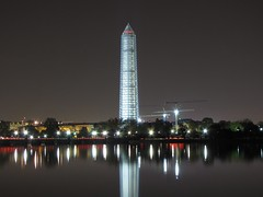 Washington Monument in scaffolding at night, viewed from the southwest, across the Tidal Basin (SchuminWeb) Tags: park november southwest west monument metal stone night mall dc washington earthquake construction day scaffolding time ben nps stones district steel web south over parks columbia east nighttime national repair obelisk damage restored scaffold service restoration daytime obelisks monuments washingtonmonument nationalparkservice georgewashington restoring overnight 2013 schumin schuminweb
