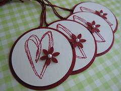 Sweet Heart Flower Tags (vsroses.com) Tags: pink blue green art atc scrapbooking paper cards handmade mixedmedia sewing crafts craft felt stamp card ribbon collagecard