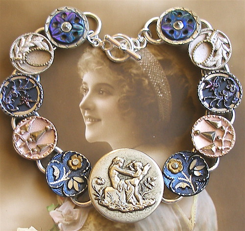 Cupids defense, 1800's vintage button silver bracelet, jewelry jewellery.