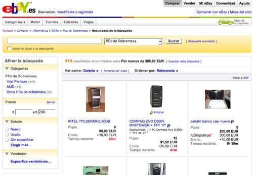 Captura de pantalla de eBay buscando ordenadores de sobremesa de segunda mano