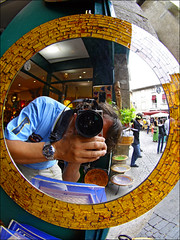 Mirrorized (Sator Arepo) Tags: leica portrait selfportrait reflection mirror reflex tagged fisheye zuiko carcassonne digilux mirrorized digilux3 8mmed