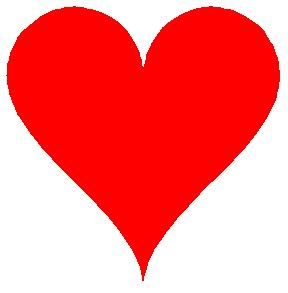 Corazón rojo relleno en 2D