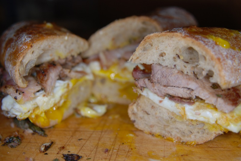 Pork + Egg sandwich on a baguette