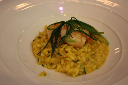 Risotto (vialone nano) of tiger prawns, saffron, prosecco and agretti