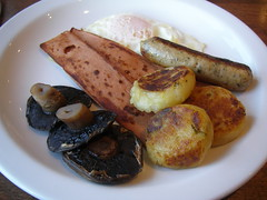 English Vegetarian Breakfast (maria dixon) Tags: food mushrooms bacon sausage friedegg bubbleandsqueak britishbreakfast