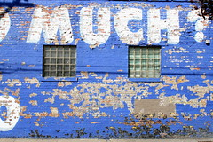 Much? (Brian Hagy) Tags: blue urban chicago sign wall paint decay il chip much peel thebestofday gnneniyisi