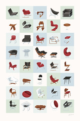 Mid-Century Modern Furniture Poster (Cool) (James Provost) Tags: home modern illustration vintage print poster furniture editorial illustrator bertoia noguchi eames midcentury vanderrohe editorialillustration