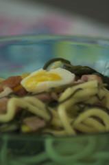 Troccoli, pancetta affumicata, agretti e uova di quaglia...