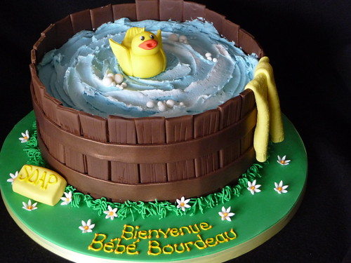 Washtub baby shower cake