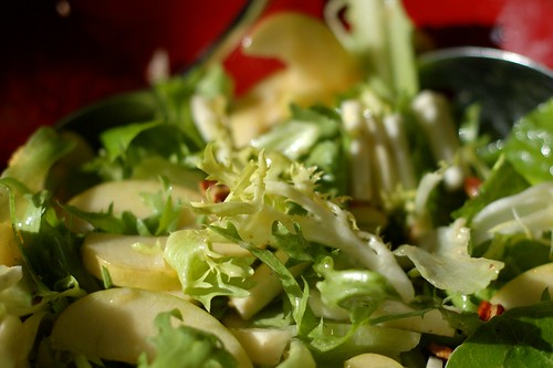 Frisee, apple and celeriac salad with shallot-citrus dressing