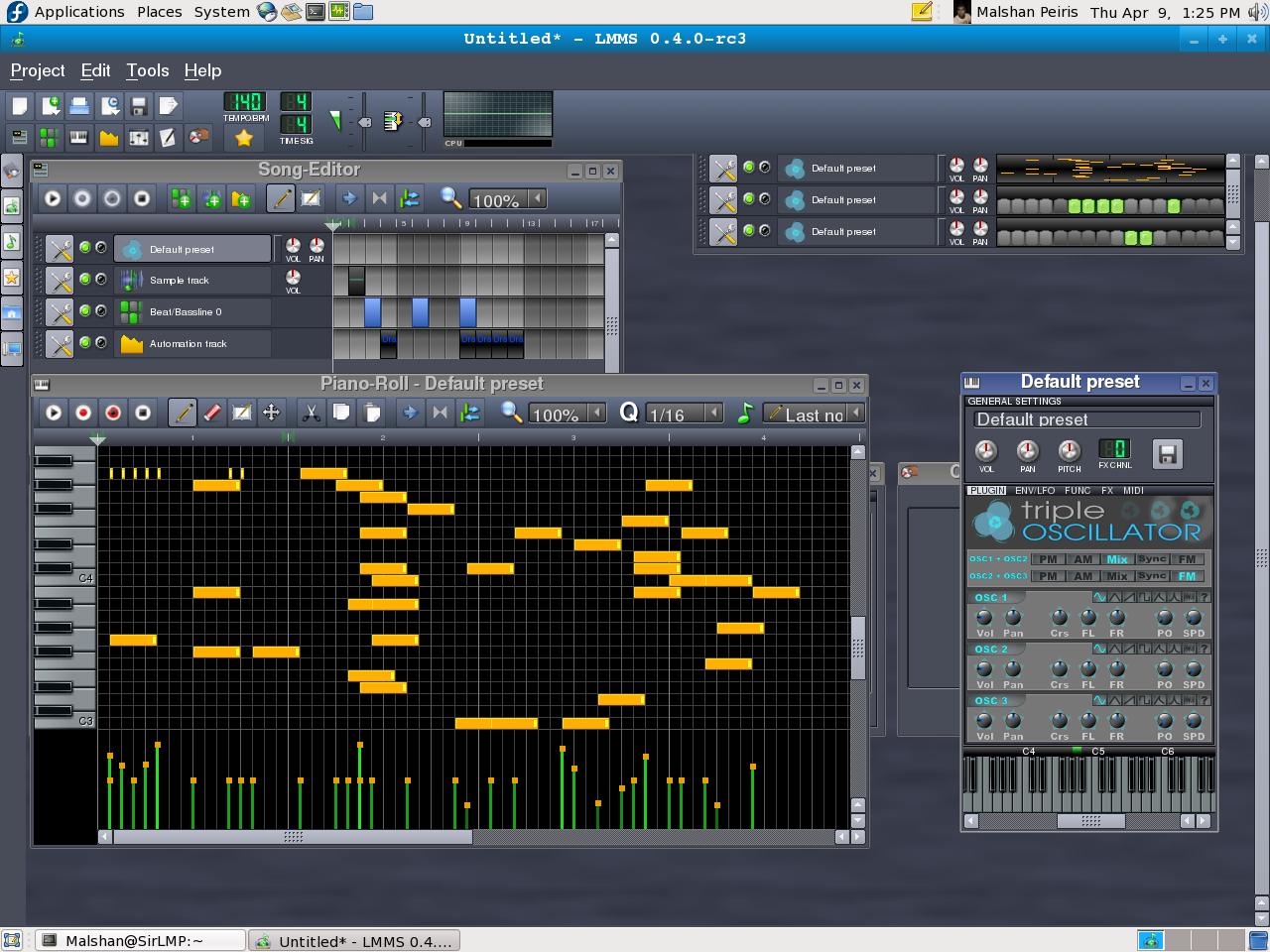 LMMS 0.4.0 - RC3 running on Qt 4.3.4 on ...