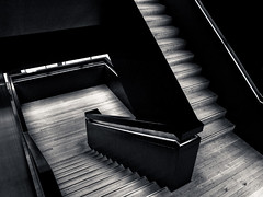 Stairs (Rune T) Tags: bw up architecture modern stairs wooden pattern looking down stairway handrail inside