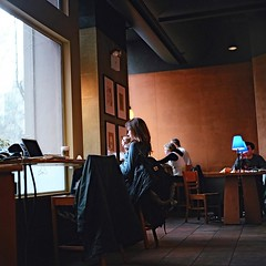 A Starbucks Moment (Inside_man) Tags: people newyork 120 6x6 mamiya tlr c220 film coffee colors mediumformat colorful bokeh manhattan citylife stranger starbucks lightandshadow sb portranc astarbucksmoment