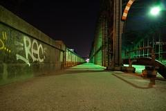 Hackerbrcke (domlen) Tags: bridge light green night germany munich mnchen bavaria lights europe nightshot steel db rails muc hackerbrcke unusualviewsperspectives domlen