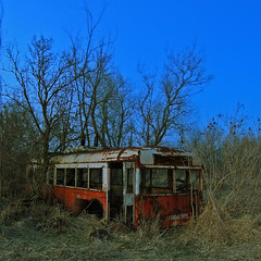 Magic Bus (Just Add Light) Tags: trees light bus abandoned field wisconsin night rural exposure just add bp trolly logn portalwisconsinorgselected portalwisconsinorg042709