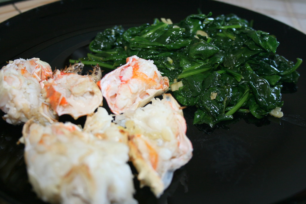 Garlic Roasted Crab with Sauteed Spinach