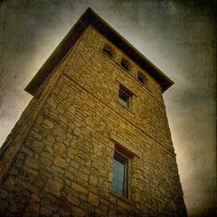 the tower (jssteak) Tags: tower texture window stone writing arch grunge text belltower layer fauxvintage developement squareformate solterra texturedsquare