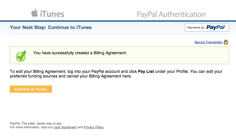 Your Next Step: Continue to iTunes - PayPal