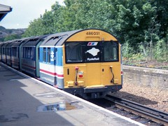 A class 486 unit at Shanklin station (Richard and Gill) Tags: station railway vectis isleofwight emu londonunderground britishrail shanklin iow nse tubetrain electricmultipleunit networksoutheast islandline ryderail class486 486031