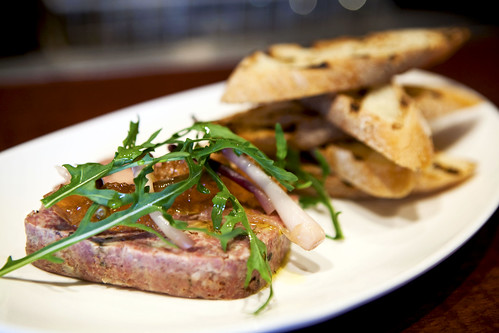 Pork and foie gras terrine, close up