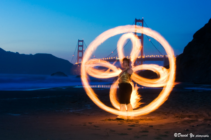 Fire Dancing Golden Gate Bridge