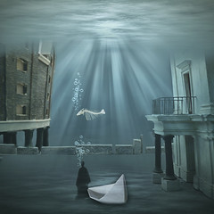 Lost world (Martine Roch) Tags: world city blue art square boat under dream surreal bubbles submarine fantasy nightmare manray petitechose warter martineroch artistictreasurechest