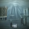 Lost world (Martine Roch) Tags: world city blue art square boat under dream surreal bubbles submarine fantasy nightmare manray petitechose warter martineroch artistictreasurechest