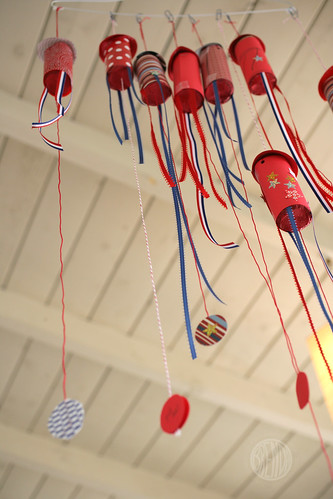 Fourth of July Confetti Popper Rockets hanging from the ceiling