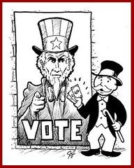 Insights on PBS Hawaii - Elections and Corporate Donations (PBS Hawaii org) Tags: illustration drawing cartoon monopoly vote elections unclesam editorialcartoon pbshawaii jefflangcaon danboylan corporatedonations insightsonpbshawaii