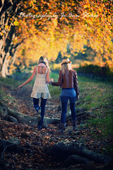 A helping hand between sisters! (Jo-Ann Stokes) Tags: family autumn leaves sisters seasons friendship nieces sinead oaktrees sisterhood boschendal kelce familygetty2010