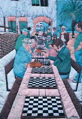 Santa Monica Chess Players (5grainpics) Tags: quilt batik batikpainting fabricpainting textilearts batikart batikwallhanging janicecinquegrano