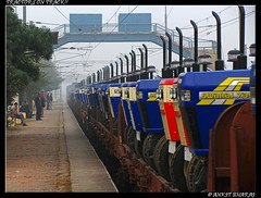 Tractors on Track!! (Ankit Bharaj) Tags: new india station electric train canon is track delhi indian platform engine railway motors rake locomotive 100 mast tractors railways ldh nagar ankit catenary sx swaraj pantograph railfanning chander irfca brna bharaj wag7
