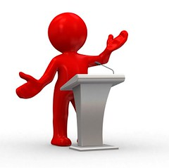 lecture (TUIBlog) Tags: red people woman white abstract man 3d chat humorous release talk voice podium human figure winner microphone win lecture speech say speaking dialogue notify intructor
