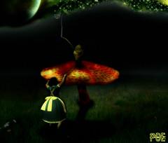 Poe In Wunderland (Crop) (Poe Tatum) Tags: green mushroom glass girl night photoshop dark climb looking alice lewis manipulation fantasy adobe mysterious cs through manip wonderland hookah cs3 cs4 carrol