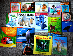 Thrift Store Books (Vegan Butterfly) Tags: baby rabbit birds animals kids reading store babies books literature deer owl ladybug monkeys apes polarbears happyfeet cildren thift antihunting