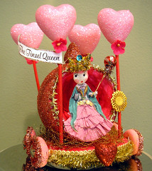 The Tinsel Queen Parade! 3 (Lisa Kettell) Tags: pink red glitter vintage hearts queen tinsel float styrofoam alteredart queenofhearts crepepaper lisakettell dresdentrim charlottedoll tinselqueen vinatgevalentine