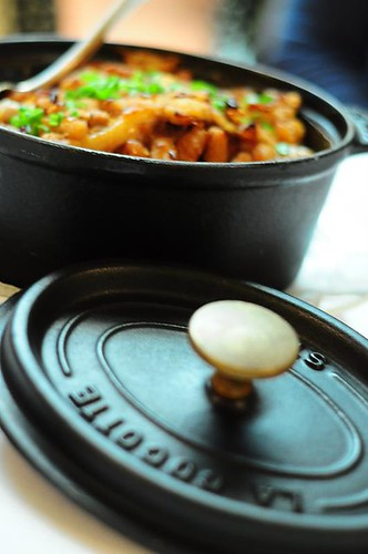 Cassoulet served in a Staub (La Cocotte)