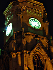 Clock Tower (sonykus) Tags: city light building tower clock church monument saint st architecture night turn canon michael europe long exposure catholic cathedral roman gothic landmark center medieval powershot romano romania transylvania torony eastern catolica transilvania available michaels biserica cluj templom gotic craftsmen ra erdly mihail kolozsvr ceas catedrala ardeal szent siebenbrgen mihly klausenburg s3is rmai katolikus toronyra sfntul gtikus