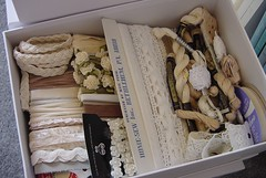 Cream White box (ivoryblushroses) Tags: lace craft boxes supplies threads organize lables trims
