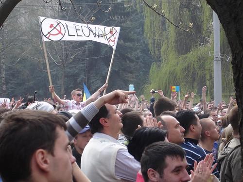 Protestatarii de la Leova la 7 aprilie 2009