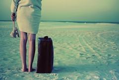 I ran away that morning (Maureen Dai) Tags: ocean morning light rabbit bunny beach water car animal skinny stuffed sand waves legs tracks blanket suitcase