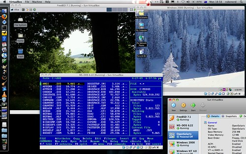 FreeBSD, MS-DOS and Windows 2000 in VirtualBox