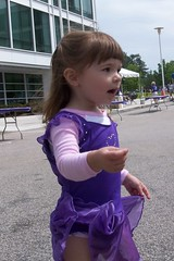 Elizabeth in her purple ballerina dress
