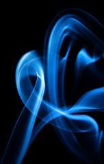 Blue Fire (shadamai) Tags: blue black fire smoke curves fluid swirls incense flickrchallengegroup flickrchallengewinner