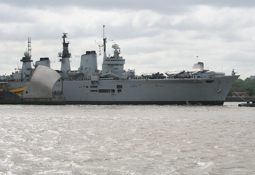 HMS Illustrious passing through the Thames Barrier - 2